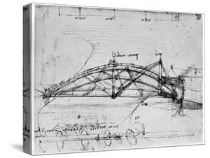 Design for a Parabolic Swing Bridge, 1480-1490 by Leonardo da Vinci