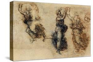 Three Dancing Figures and a Study of a Head by Leonardo da Vinci