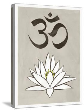 Lotus Meditation AUM Blue White Print Poster