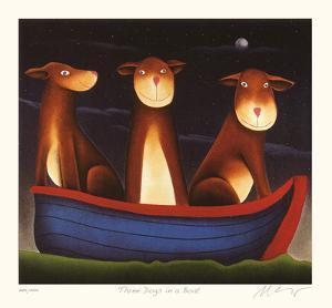 Three Dogs in a Boat by Mackenzie Thorpe