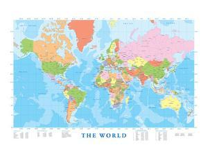 World Maps Posters And Prints At Artcom - World map poster