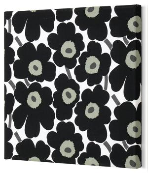 Marimekko®  Mini-Unikko Fabric Panel - Black 15x15