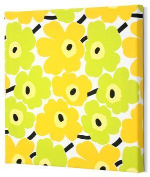 Marimekko®  Mini-Unikko Fabric Panel - Lime/Yellow 15x15