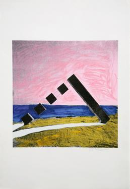 Untitled - Geometric Shapes and the Horizon by Menashe Kadishman