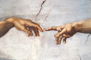 Creation of Adam Detail Hands by Michelangelo Buonarroti