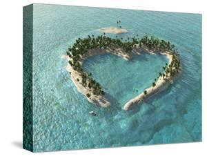 Aerial View Of Heart-Shaped Tropical Island by Mike_Kiev