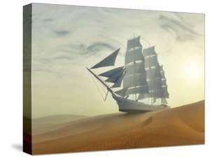 Sailing Ship In Desert by Mike_Kiev