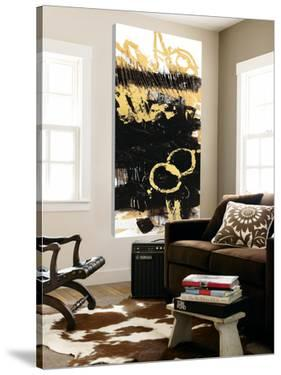 Gold Black Abstract Panel III by Mike Schick