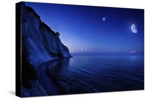 Moon Rising over Tranquil Sea and Mons Klint Cliffs, Denmark