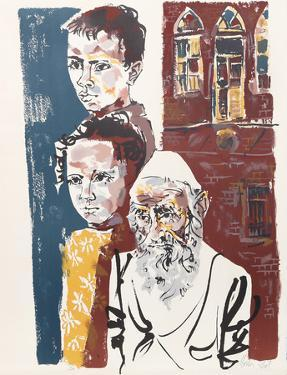 Two Boys and a Rabbi from People in Israel by Moshe Gat