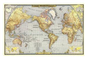 World maps posters and prints at art 1943 world mapnational geographic maps art print gumiabroncs Images