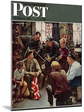 """""""Homecoming Marine"""" Saturday Evening Post Cover, October 13,1945 by Norman Rockwell"""