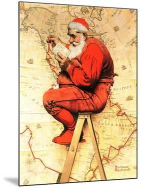 """""""Santa at the Map"""", December 16,1939 by Norman Rockwell"""
