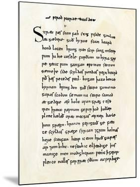 """Page from the Old English Manuscript of """"Beowulf"""" in the British Museum"""
