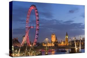 Parliament, London Eye and Jubilee Bridge on River Thames, London, UK by Peter Adams