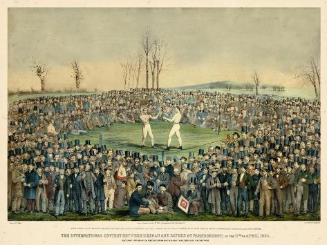 1860, Boxing Match International Contest Between Heenan and Sayers at Farnborough Giclee-trykk