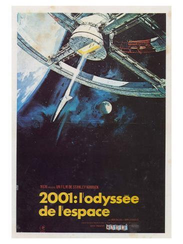 2001: A Space Odyssey, French Movie Poster, 1968 Kunsttryk