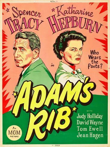 Adam's Rib, Spencer Tracy, Katharine Hepburn, 1949 Kunsttryk
