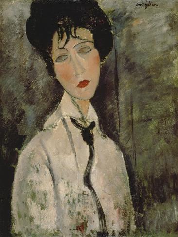Kvinde med sort slips, 1917 Giclée-tryk