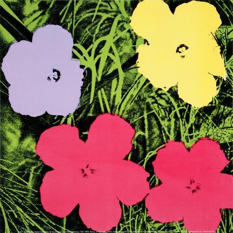 Flowers, c.1970 (1 purple, 1 yellow, 2 pink) Kunsttryk