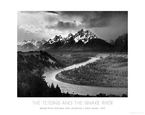 Teton-fjellene og Snake River, Grand Teton nasjonalpark, ca. 1942 Kunsttrykk
