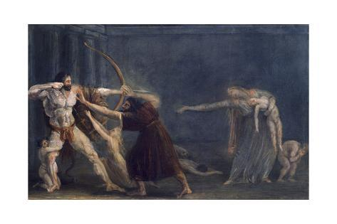 Hercules Firing Arrows at His Children Giclee-trykk