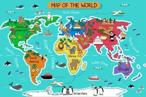 kart i verden Kart over verden Plakater av Artisticco LLC hos AllPosters.no kart i verden