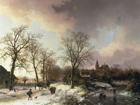 Figures in a Winter Landscape, 1842 Giclee-trykk