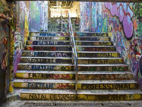 The Graffiti Walkway on the University Campus Fotografisk trykk