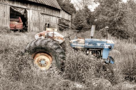 Blue Tractor BW Fotografisk trykk