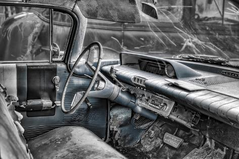 Buick Lesabre Interior BW Fotografisk trykk