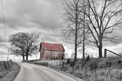 Springs Barn and Road BW Fotografisk trykk