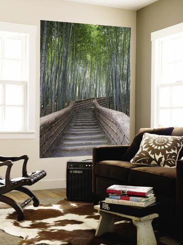 Trapp gjennom Bamboo Grove ovenfor Adashino Nembutsu-Ji-templet Veggmaleri