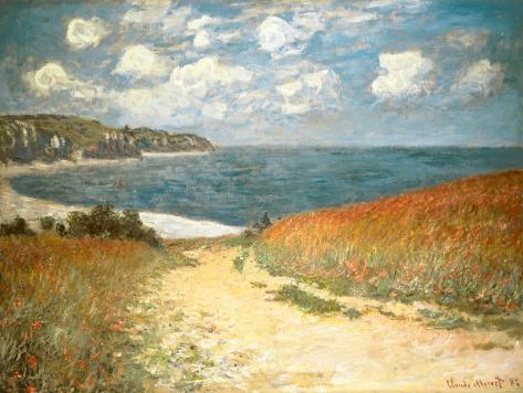 Sti gennem kornet ved Pourville, ca.1882 Kunsttryk