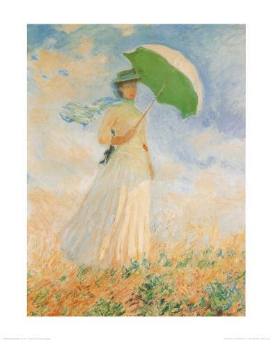 Woman with Parasol Kunsttrykk