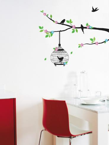 Color Blossom and Birds in Tree Silhouette Wallstickers