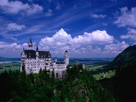 King Ludwig II's Neuschwanstein Castle and Countryside Around It, Fussen, Bavaria, Germany Fotografisk trykk