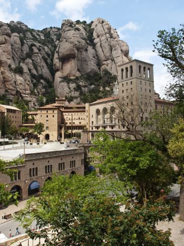 The Santa Maria De Montserrat, Benedictine Abbey on Montserrat Mountain Fotografisk trykk