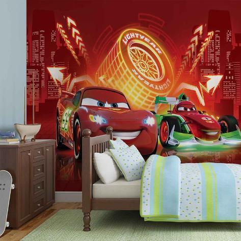Disney Cars - Lightning McQueen & Bernoulli Neon - Vlies Non-Woven Mural Ikke-vevd (vlies) tapetmaleri