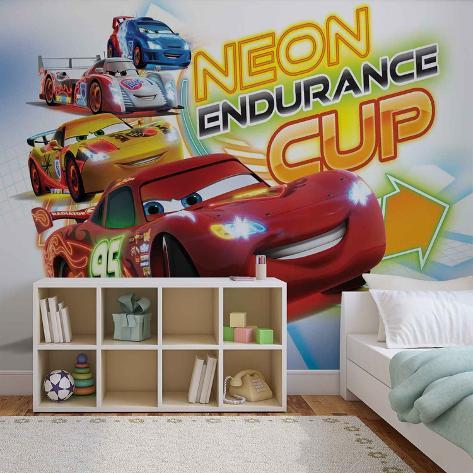 Disney Cars - Neon Endurance Cup - Vlies Non-Woven Mural Ikke-vevd (vlies) tapetmaleri