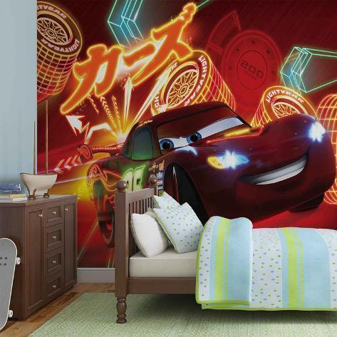 Disney Cars - Neon Lightning McQueen - Vlies Non-Woven Mural Ikke-vevd (vlies) tapetmaleri