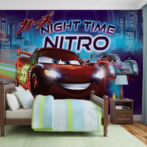 Disney Cars - Night Time Nitro - Vlies Non-Woven Mural Ikke-vevd (vlies) tapetmaleri