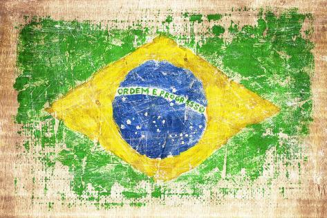 Grunge Flag Of Brazil On Wooden Texture Fotografisk trykk