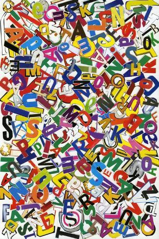 Handmade Alphabet Collage Of Magazine Letters Kunsttrykk