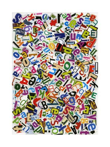 Handmade Alphabet Collage Of Magazine Letters Kunsttrykk