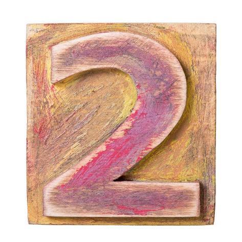 Wooden Alphabet Block, Number 2 Kunsttrykk
