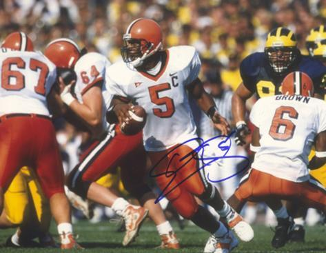 Donovan McNabb Rolling Right vs Michigan Autographed Photo (Hand Signed Collectable) Foto
