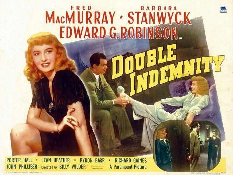 Double Indemnity, UK Movie Poster, 1944 Kunsttryk