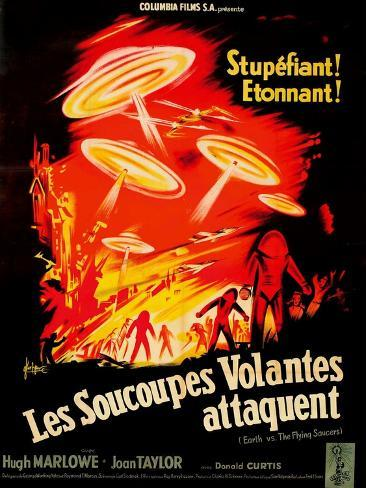 Earth vs. the Flying Saucers, French Movie Poster, 1956 Kunsttryk