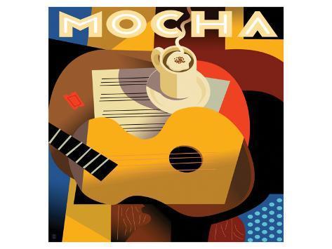 Cubist Mocha I Premium Giclée-tryk